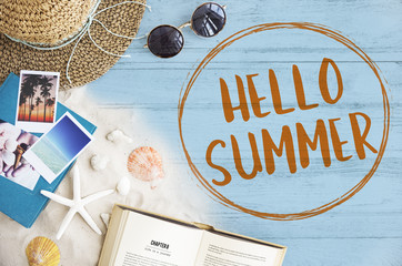 Hello Summer Vacation Message Sign Concept