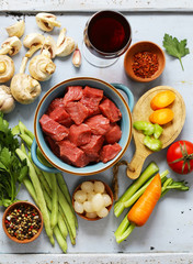 Food ingredients - meat, vegetables and spices