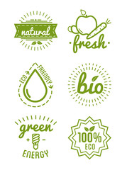 Set of organic food labels and design elements or eco product