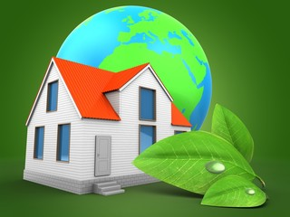 3d illustration of house over green background with earth globe and green leaf