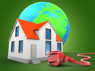3d illustration of house over green background with earth globe and power cord