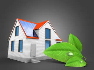 3d illustration of modern house over gray background with green leaf