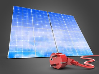 3d illustration of solar panel over gray background with power cord