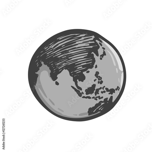 Earth icon hand drawn on white background world map in doodles earth icon hand drawn on white background world map in doodles style or globe gumiabroncs Gallery