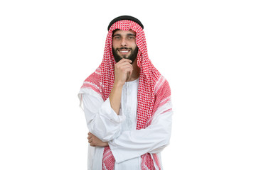Arab man posing happy with folded arms isolated on a white background