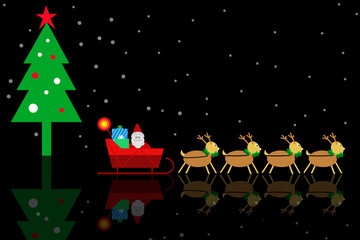 Christmas Backgrounds with Santa Claus and Reindeer Scene.
