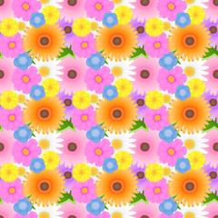 華やかでカラフルな色んな花の総柄シームレスパターン ガーベラ・コスモス・ネモフィラ・タンポポ