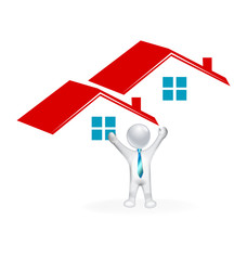 Real estate houses and happy 3D man closing a home sale image icon logo