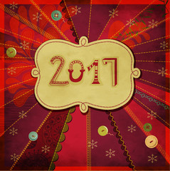 Colorful sewing New Year poster - Patchwork background with stitches and buttons behind the 2017 label