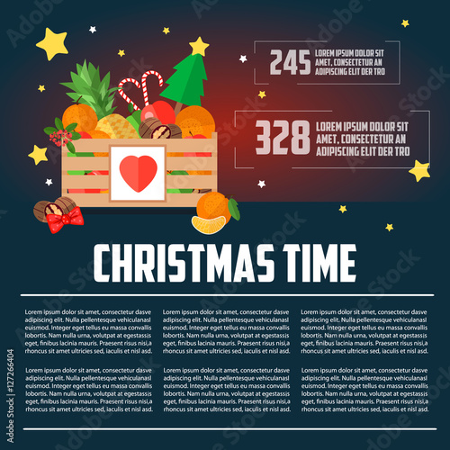 Christmas Template Flat Style Box Vector Ilration Business Letterhead Time