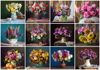 Set of twelve still-lifes with flowers for the calendar.