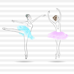 Two cute young ballerinas dancing on pointe, ballet shoes in flo