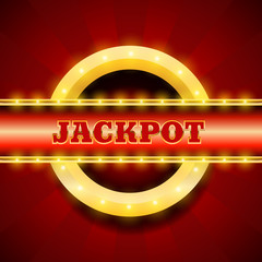 Jackpot retro banner with glowing lamps for winners of poker car