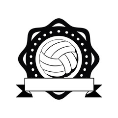 ball of volleyball icon. Sport hobby competition and game theme. Isolated black and white design. Vector illustration