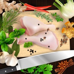 Spices and herbs and chicken meat with cutting board and knife