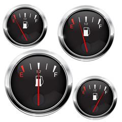Fuel gauge. Black round dashboard element with chrome frame
