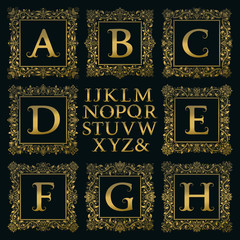 Vintage monogram kit. Golden letters and floral square frames for creating initial logo in victorian style.