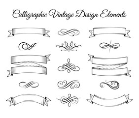 Vintage elements and page decoration. Ornate frames, ribbons and scroll element.