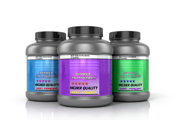 Banks sports nutrition on a white background.3D illustration