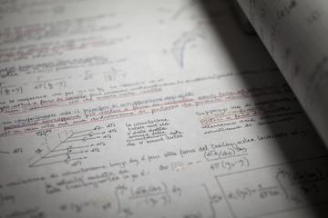 Mathematics, Equations , aerodynamics handwritten notes close-up.