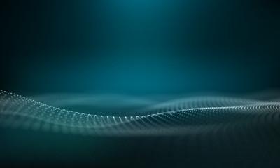 Abstract Blue Geometrical Background .Digital wave. Neon Sign . Futuristic Technology HUD Element . Elegant   . Big data visualization .