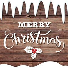 Merry Christmas glittering lettering design. Vector illustration.