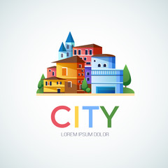 Abstract city, urban logo design template, building composition icon
