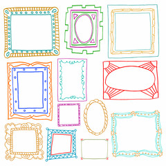 Vintage photo frames set, drawing doodle style, antigue ornament