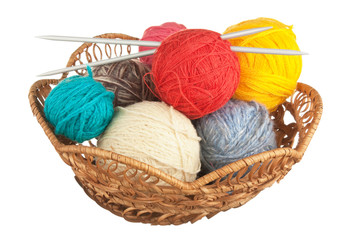 ball of wool and knitting needles in basket