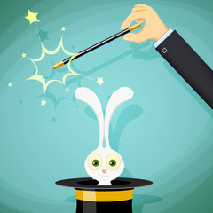 Magician with magic wand and a rabbit in a hat. Stock vector ill