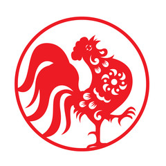 Red paper cut a chicken rooster crow zodiac symbols in circle frame vector design