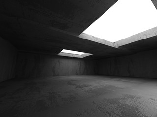 Dark concrete room interior. Abstract architecture industrial