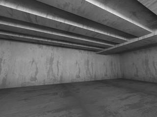 Dark concrete chaotic construction. Empty room interior