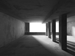 Abstract concrete empty room interior. Urban architecture