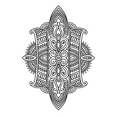 Vector ornamental Lotus flower, ethnic art,Indian paisley isolated on white background.Hand drawn illustration for adult antistress relax coloring page, book. Invitation element.boho and magic symbol.