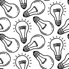 Lamp light bulb hand drawn seamless pattern design. Light bulbs icon. Concept of big ideas inspiration, innovation.  Isolated. Vector illustration. Idea symbol. Vector. sketch. Hand-drawn doodle sign.