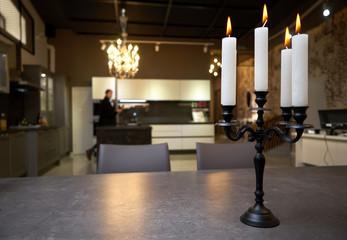 Candles illuminating a dim room