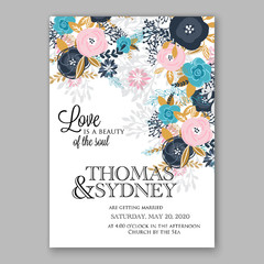 Wedding invitation template with watercolor winter flower christmas wreath pine branch Baby shower invitation template with watercolor tropical flower wreath