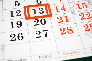 Calendar showing friday the 13th