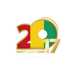 Year 2017 with Guinea Flag pattern. Happy New Year Design on white background. Vector Illustration.