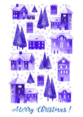 Christmas watercolor greeting card. Winter christmas houses in old city.