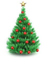 3d illustration of Christmas tree over white background with star and red balls