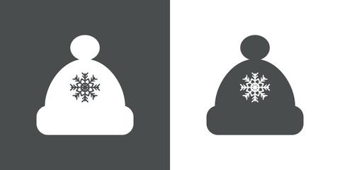 Icono plano gorro con copo nieve gris y blanco