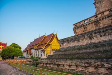 Gold church in thai temple, Thailand .