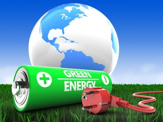 3d illustration of battery over meadow background with world globe and power cord