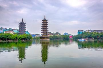 Two pagodas of Sun and Moon, Guilin, China