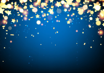 Blue festive background with confetti.