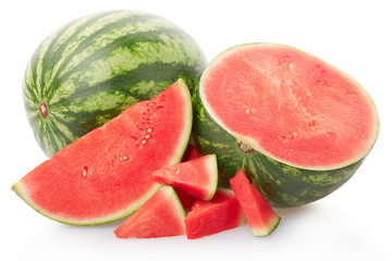 Mini fresh watermelon group isolated on white, clipping path