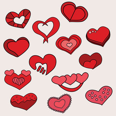 Valentine day hearts design set. Cartoon free hand draw doodle vector illustration.