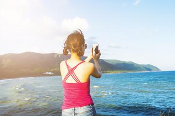beautiful young woman enjoy summer vacation